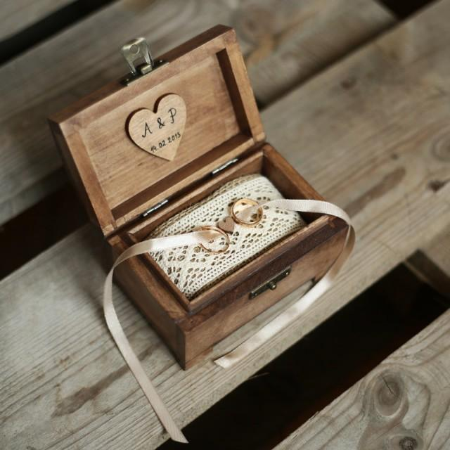 Personalized Wedding Ring Box Rustic Wooden Ring Box