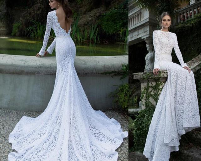 2016 Berta Lace Backless Wedding Dresses With Long Sleeves