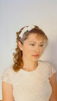 Ivory Veil Ivory Birdcage Veil Headband Mini Birdcage Veil ...