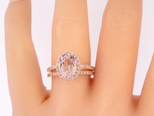 14k Rose Gold Diamond Amp Oval Shape Morganite Halo Wedding Set Engagement Ring Promise Ring