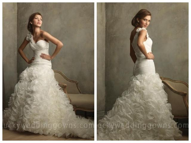 Organza One Shoulder Ruffles Floral Ball Gown Vintage