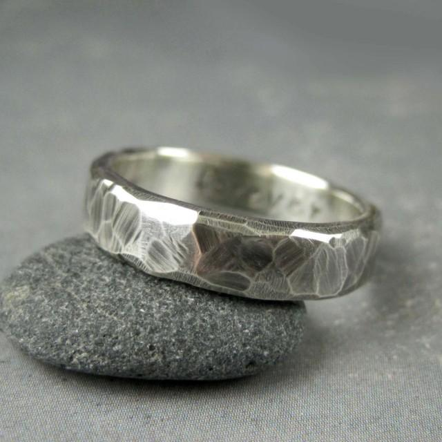 Rough Hewn Mens Wedding Band 5 Or 6mm Custom Engraved