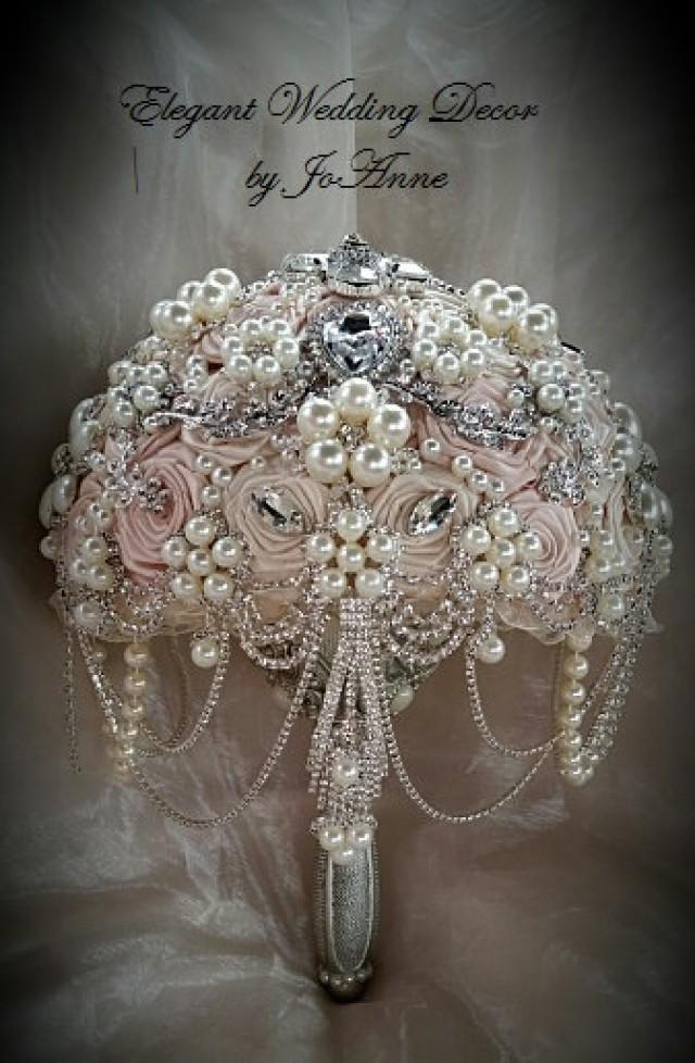 PINK AND SILVER Custom Wedding Brooch Bouquet Deposit For