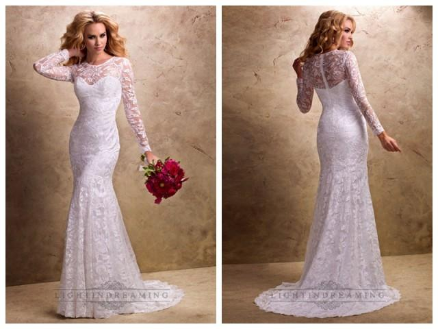 Fit And Flare Long Sleeves Sheer Wedding Dresses With