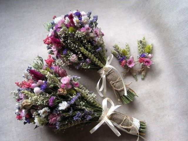 Wedding Country Bouquets Set Pink Purple Wedding Bouquets Rustic Wedding Dried Flowers Bouquets