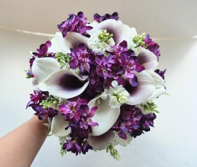 White Amp PlumPurple Calla Lily Bouquet Bridal Bouquet