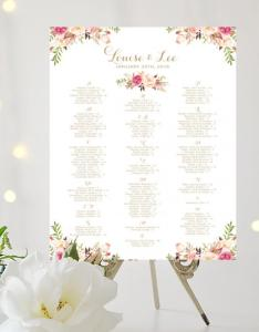 Wedding seating chart alphabetical large poster romantic blooms gold script  create and you print weddbook also rh