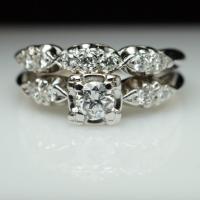 Vintage Art Deco Diamond Bridal Set Engagement Ring ...