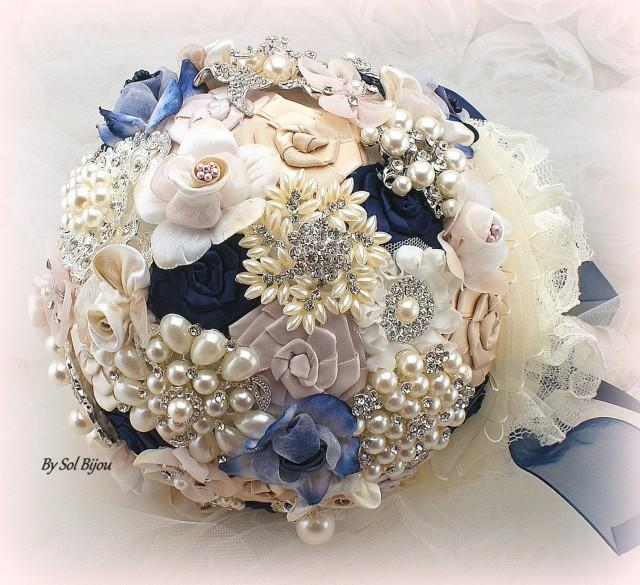 Brooch Bouquet Navy Blue Blush Gold Ivory Elegant