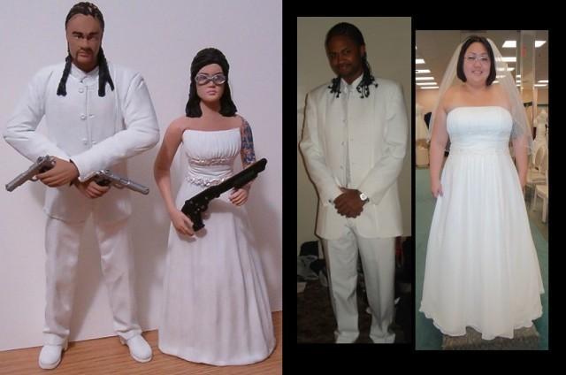 African American Couple Custom Wedding Cake Toppers Figure