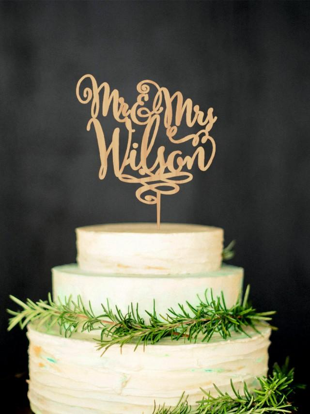 Personalized Last Name Wedding Cake Topper Mr And Mrs