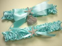 Aqua Blue Beach Wedding Garter Set, Personalized Robin's