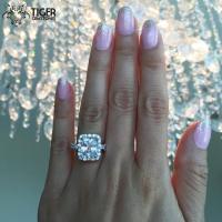 Size 4-9: 4 Carat Emerald, Radiant Cut Halo Engagement ...