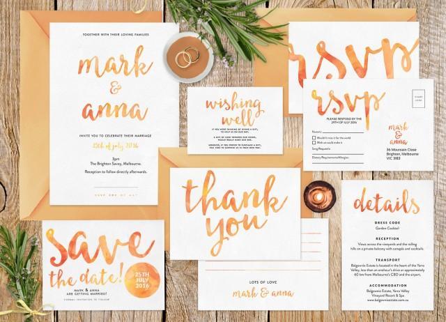 Wedding Invitation Set Summer Wedding Wedding Invitation Printable Wedding Stationery Set