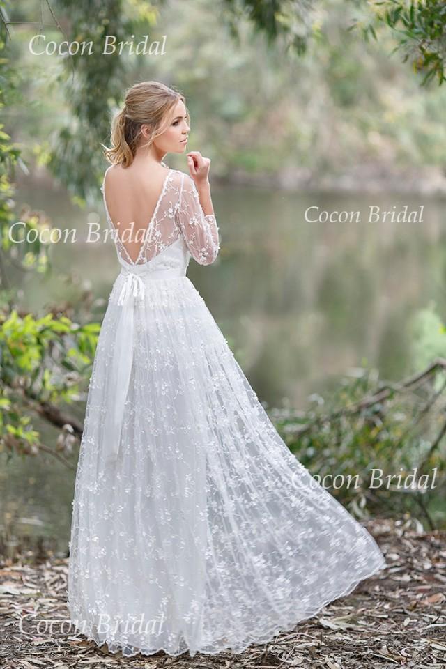 Romantic Boho Wedding Dress From Chiffon Italian Lace