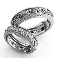 Vintage Style Engagement Rings, Silver Wedding Ring Set