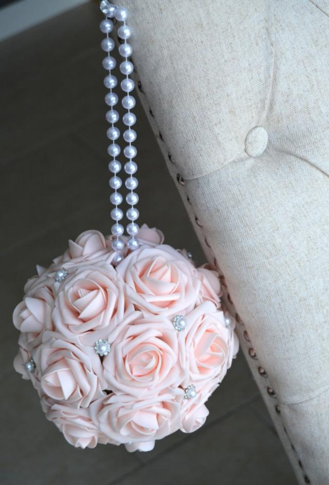 PINK BLUSH Kissing Ball With Brooch  PEARL Handle Flower Ball Pomander Wedding Centerpiece