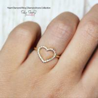 Heart Diamond Ring,14K Gold Ring, 0.2 CT Pave Diamond Ring ...
