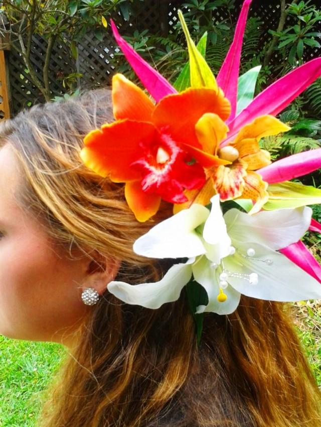 WEDDING HEADPIECE Tropical Hair Flowers Bridal Flowers