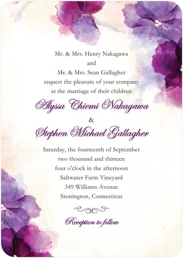 Soft Bougainvillea Watercolor Design Wedding Invitations In