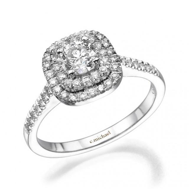 Engagement Rings 14k White Gold Diamond Ring Square Ring Engagement Band Prong Ring Art