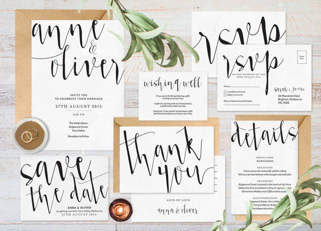 Wedding Invitation Set Wedding Invitation Printable Black And White Wedding Invitations