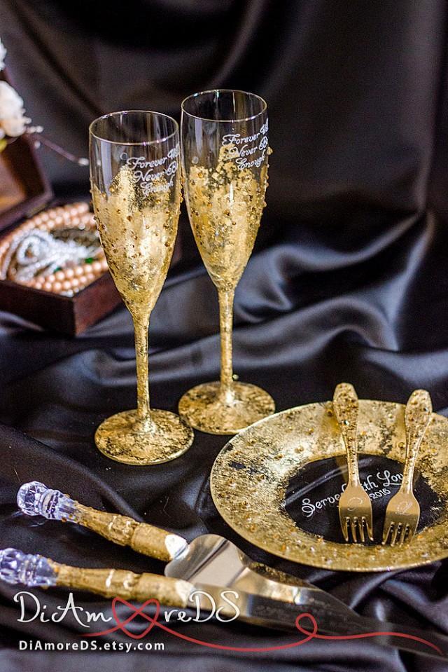 Gold And Crystals Wedding Set Glasses Forks Amp Plate