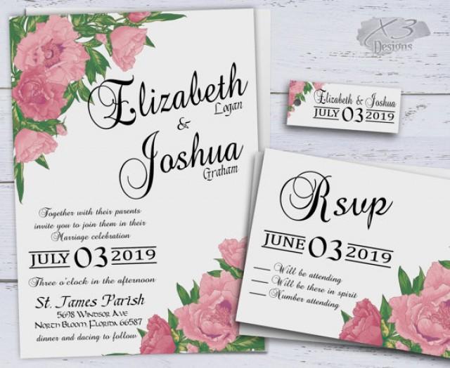 Wedding Invitations Printable Pink
