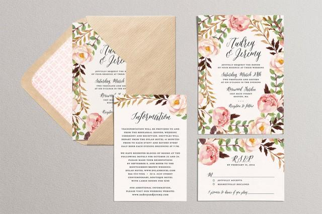 Printable Wedding Invitation Set Floral Wedding Suite