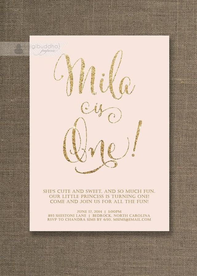 blush pink gold birthday invitation girl gold glitter pastel pink script modern first 1st free priority shipping or diy printable mila 2504967 weddbook