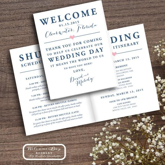 Printable Wedding Welcome Bag Booklet Note Itinerary Wedding Welcome Bag Tags Notes Hotel