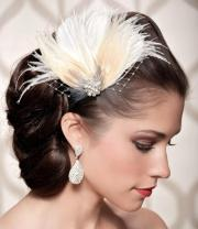 ivory bridal head piece champagne