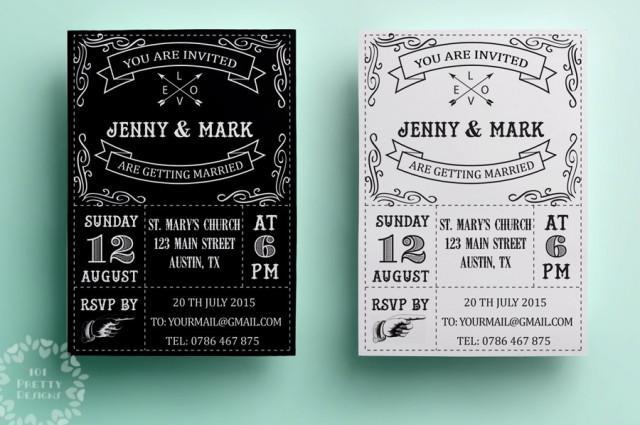 Retro Wedding Invitation Template Printable Wedding