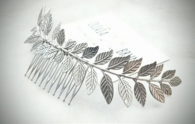 Large Silver Laurel Leaf Hair Comb Antique Silver Leaf