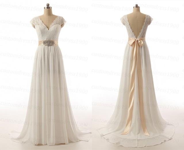 Sexy V-Back Cap Sleeve Handmade Chiffon Bridal Gowns White
