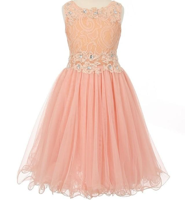 Flower Girl Dress Blush Peach Pink Lace Embellished With