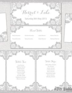 Wedding seating chart template silver gray antique lace printable table plan cards diy word instant download weddbook also rh