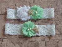 Mint Beach Wedding Garter Set, Starfish Bridal Garter
