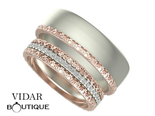 Diamond Matching Wedding Band SetUnique Matching Rings