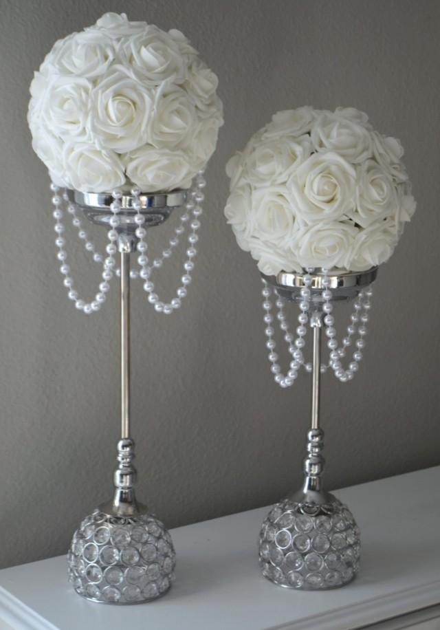 WHITE Flower Ball With DRAPING PEARLS Wedding Decor Bridal Shower Flower Girl Choose Your