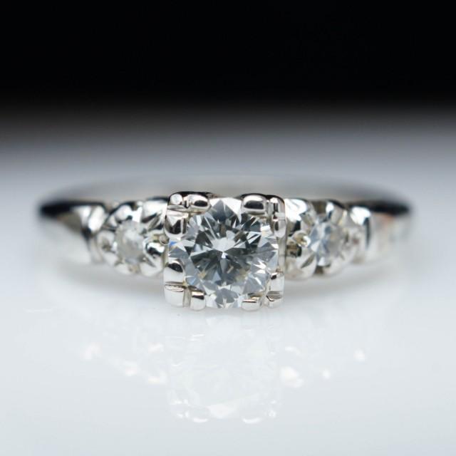 Vintage 1940s Art Deco Diamond Engagement Ring In 18k