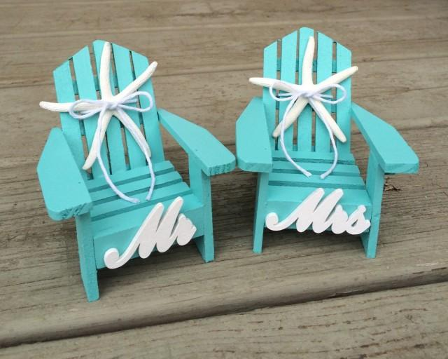 Beach Wedding Cake TopperMini Adirondack ChairsBeach