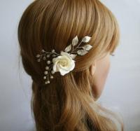 Clay Rose, Wedding Flower Hair Pin, Bridal Flower Hair Pin ...