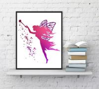 Fairy Wall Art, Fairy Print, Pink Fairy, Girls Room Decor