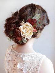 wedding hair piece burgundy red