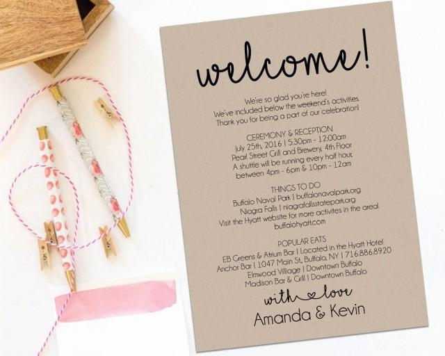 Welcome Letter Wedding Itinerary Printable Welcome