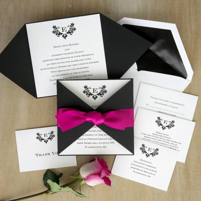 Initial Invitation With Folded Wrap  Thermography Wedding