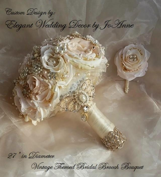 Rose Gold Bridal Brooch Bouquet Blush Pink And Ivory Rose