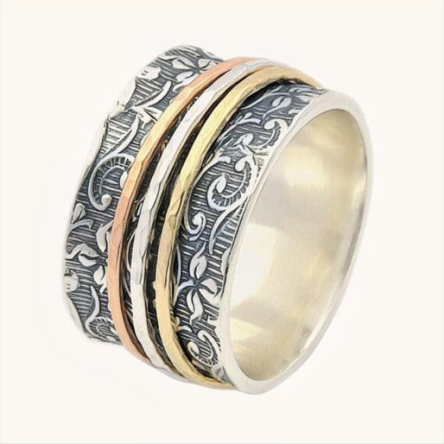 Free Shipping Spinner Ring For Women Leaf Spinner Ring