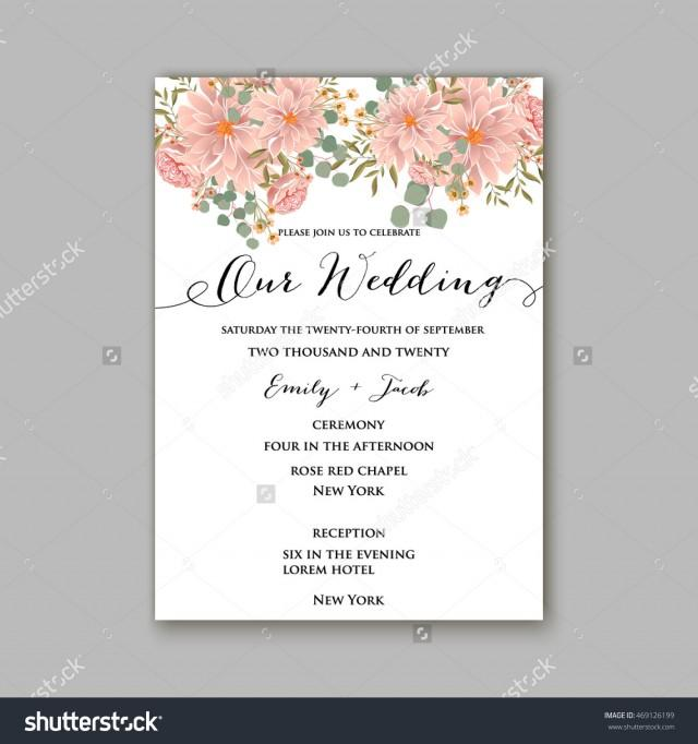 beautiful wedding floral vector invitation sample card design frame template rose daisy red peony pink and green hydrangea camellia carnation pink flowers eucalyptus leaves 2578940 weddbook